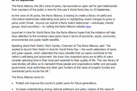 UK parks champion calls for Park Watch testimonials in time for World Parks Day on 19 September