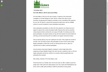 The Parks Alliance calls for green prescribing